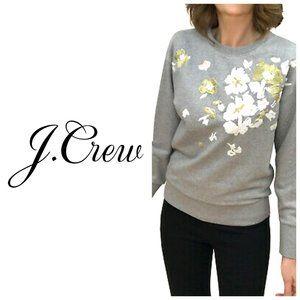 J. CREW 100% Cotton Embroidered Floral Sweatshirt